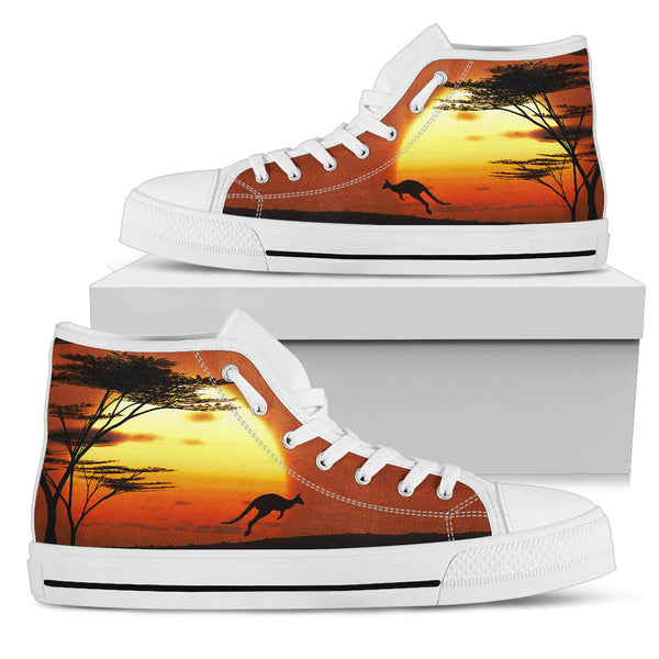 1stAustralia Canvas Shoes - Kangaroo Shoes Sunset Ver01 - High Top - Th1