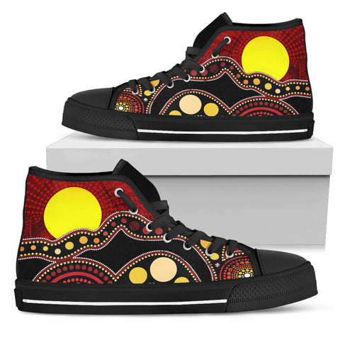1stAustralia High Top Shoes Australia Indigenous Flag Circle Dot Painting Art Shoes