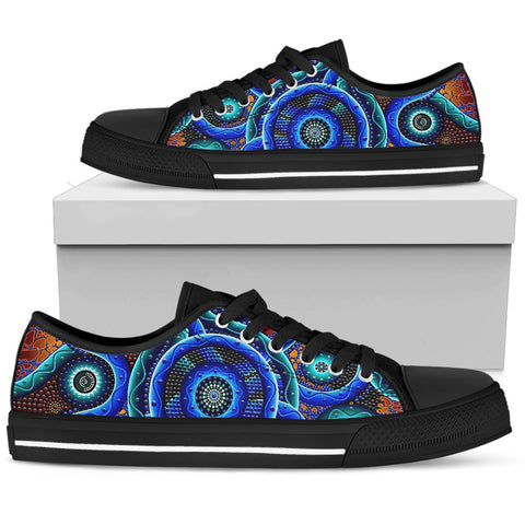 1stAustralia Low Top Shoe - Aboriginal Painting Shoe Blue Dot Painting Art
