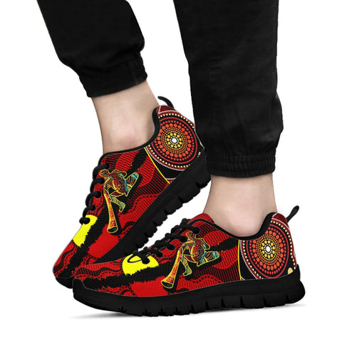 1stAustralia Sneakers - Australia Aboriginal Dots With Didgeridoo Black - BN19