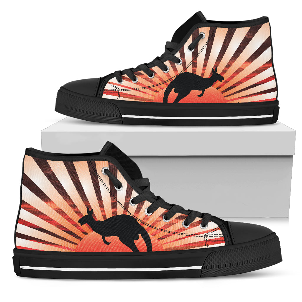 Australia High Top Shoes Kangaroo In The Sunset 01
