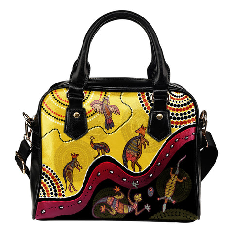1stAustralia Aboriginal Shoulder Handbag - Indigenous Animals Life Art