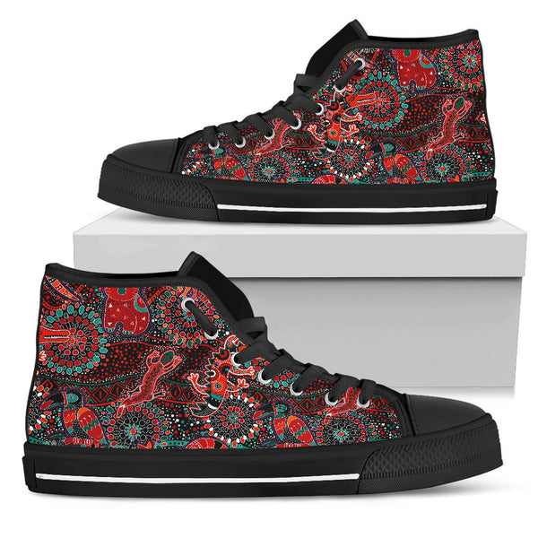 1stAustralia High-Top Shoes - Aboriginal Animal & Dot Acrylic Paint - BN17