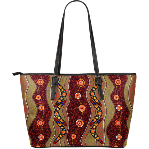 1stAustralia Leather Tote Bag - Aboriginal Tote Bag Boomerang Pattern