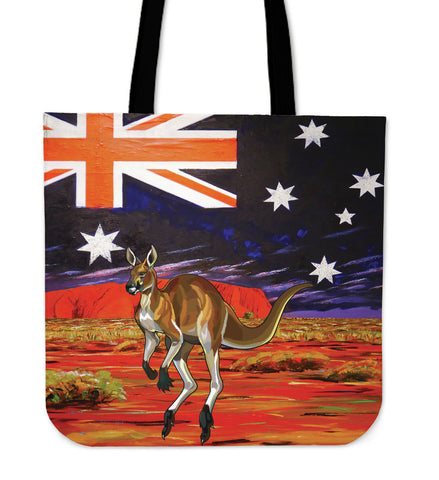 Australia Tote Bags Kangaroo And Flag