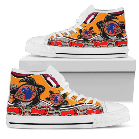 1stAustralia Canvas Shoes - Aboriginal Patterns Shoes Turtle - High Top