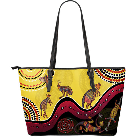 1stAustralia Aboriginal Large Leather Tote Bags - Indigenous Animals Life Art