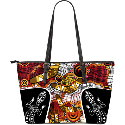 1stAustralia Leather Tote - Aboriginal Dot Painting Lizard Bag