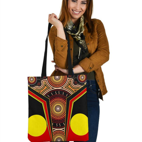 1stAustralia Tote Bags - Aboriginal With Dot Painting Art - BN17