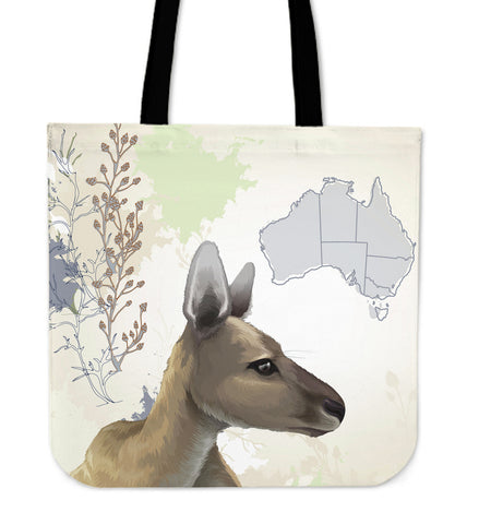 Australia Tote Bags Kagaroo And Map