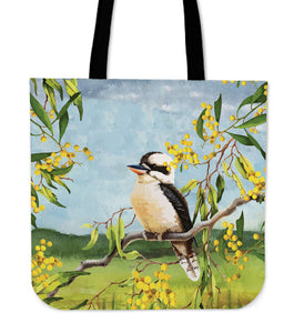 Australia Tote Bags Kookaburra On Golden Wattle