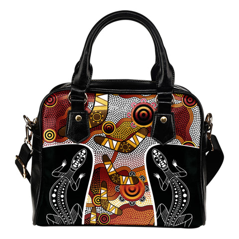 1stAustralia Shoulder Handbag - Aboriginal Dot Painting Lizard Bag