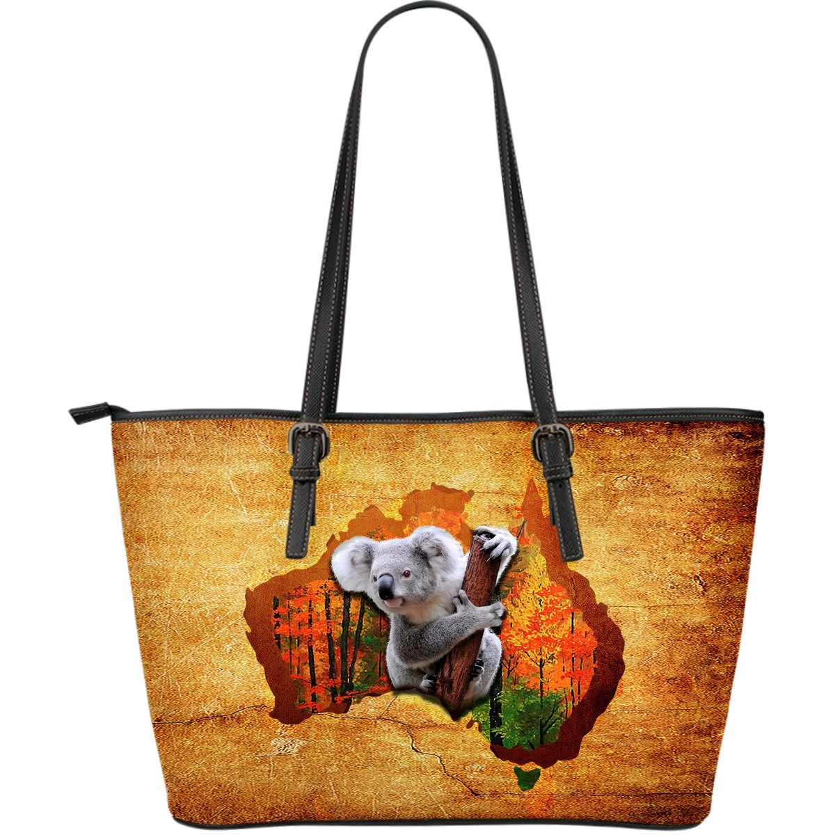 Koala And Map Leather Tote Bags NN6 1ST