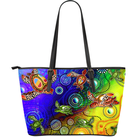 1stAustralia Aboriginal Leather Tote Bags, Turtle Art Ocean Galaxy Dot Painting