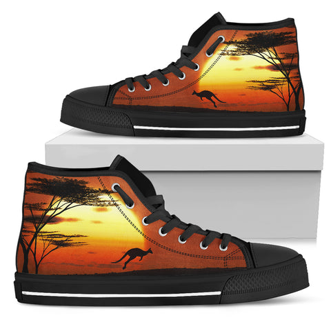 Image of Australia High Top Shoes Kangaroo Sunset