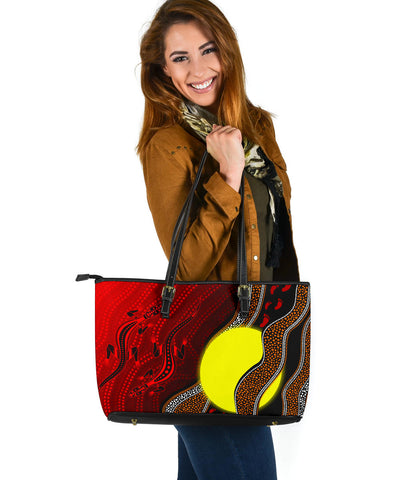 1stAustralia Aboriginal Leather Tote Bag - Aboriginal Flag Lizard Dot Painting Style