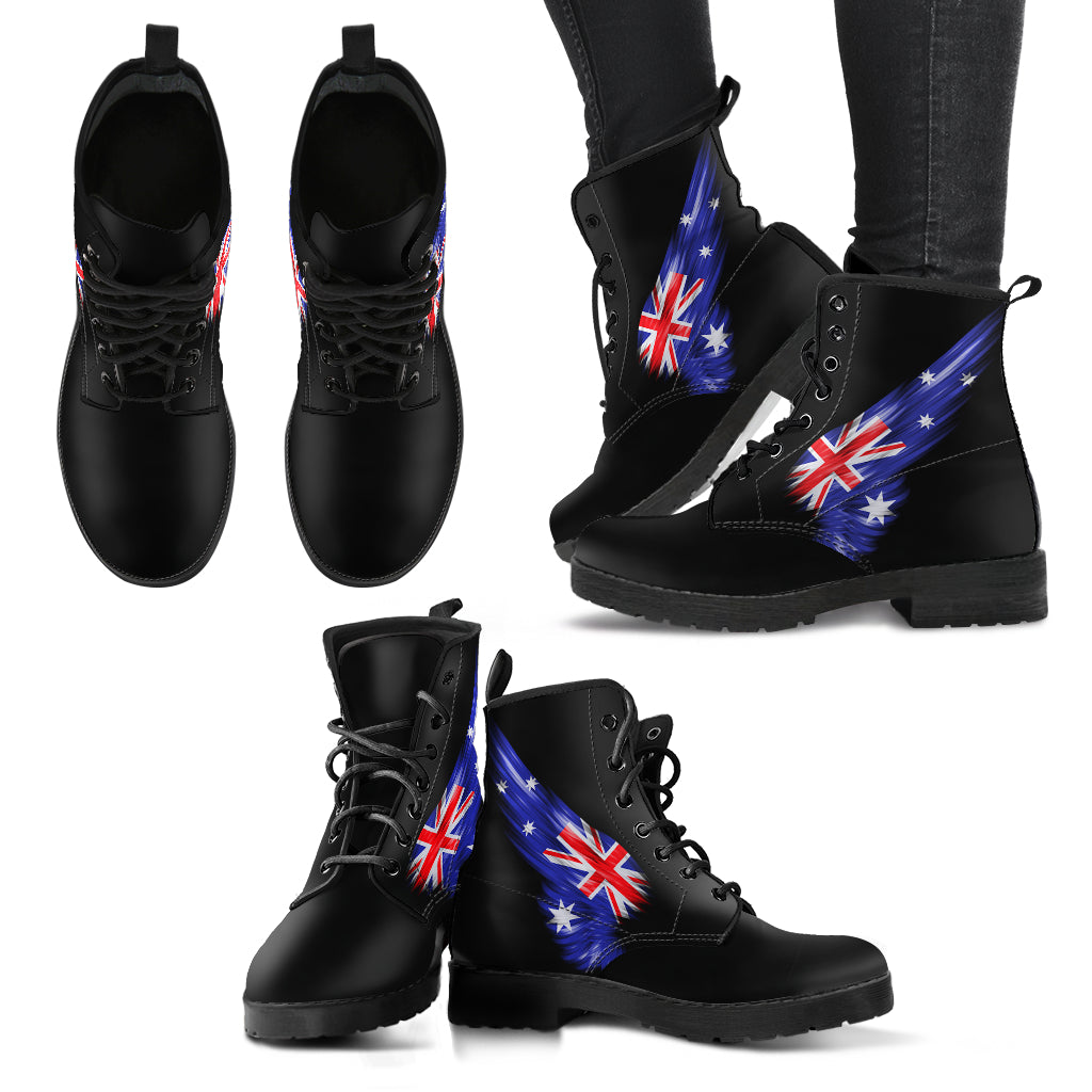 Australia Flag Wing Leather Boots