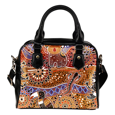 1stAustralia Shoulder Handbag - Aboriginal Patterns Bag Animals Bohemian