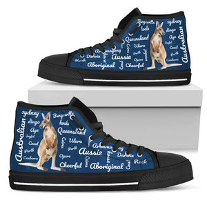 Australia High Top Canvas Shoes Kangaroo Word Art