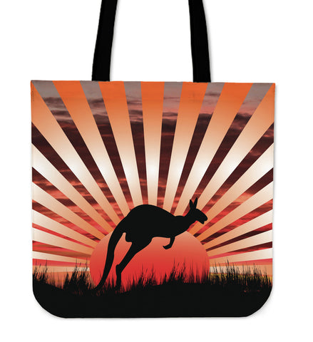 Australia Tote Bags Kangaroo In The Sunset