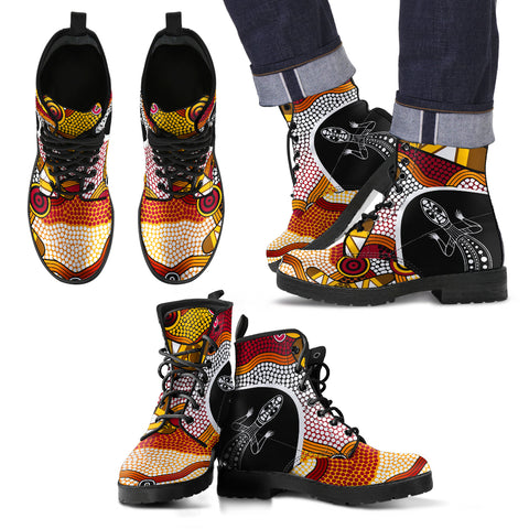 1stAustralia Leather Boots - Aboriginal Dot Painting Lizard Boots - Unisex