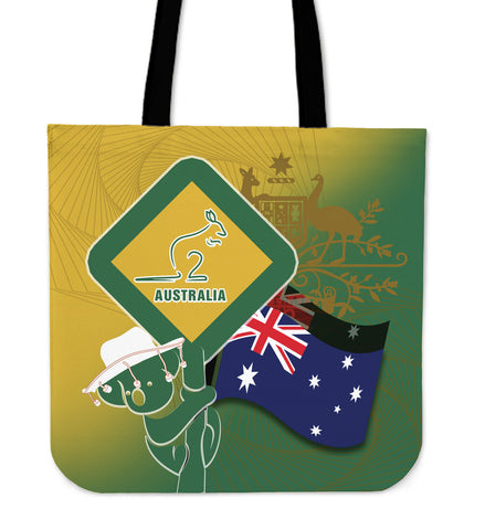 1stAustralia Tote Bags - Aus Flag and Coat Of Arms Bag Kangaroo and Koala Sign