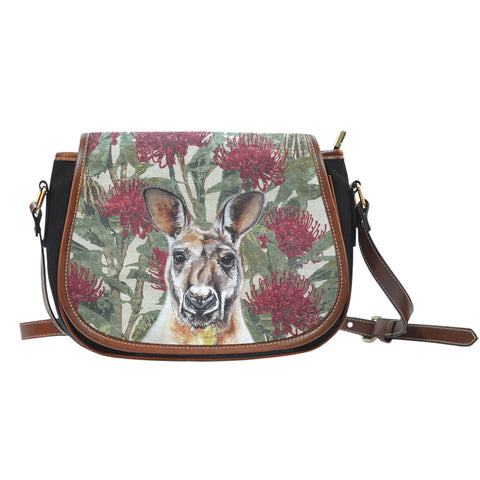 Kangaroo in Waratah Canvas/Leather Saddle Bag TH65