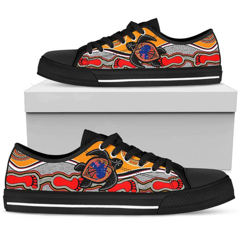 1stAustralia Canvas Shoes - Aboriginal Patterns Shoes Turtle - Low Top