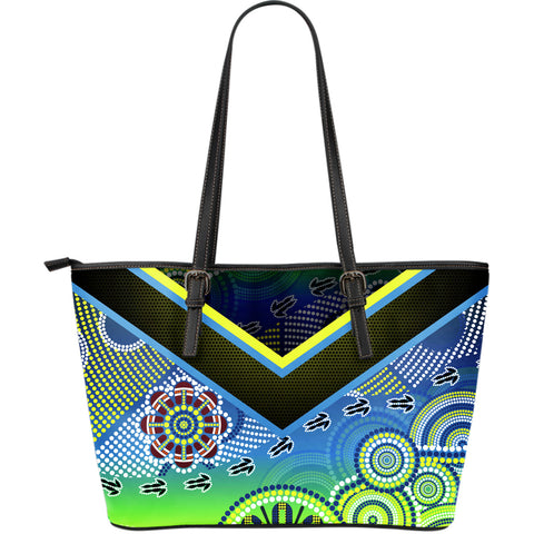 1stAustralia Aboriginal Leather Tote Bag - Dot Painting Indigenous Circle Patterns