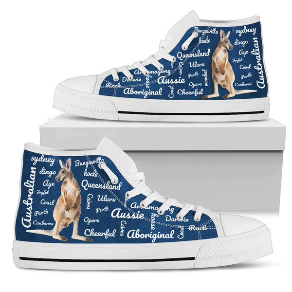 1stAustralia Canvas Shoes - Kangaroo Shoes Word Art - High Top - Nn0