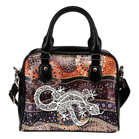 1stAustralia Aboriginal Leather Shoulder Handbag, Australian Lizard Dot Painting Bag