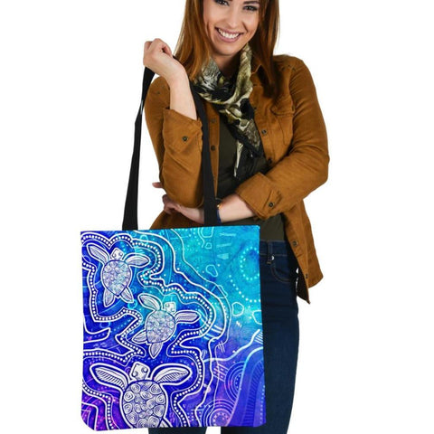 1stAustralia Aboriginal Tote Bags - Sea Turtle With Indigenous Patterns (Blue)