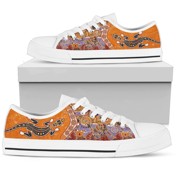 1stAustralia Canvas Shoes - Aboriginal Patterns Shoes Boomerang Lizard - Low Top - Bn14