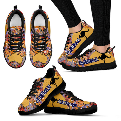 Australia Shoes Map Aboriginal Sport Version Sole Black