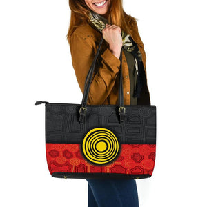1stAustralia Aboriginal Large Leather Tote Bag - Aussie Indigenous Flag