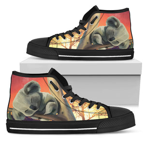 Australia High Top Canvas Shoes Koala Sleeping