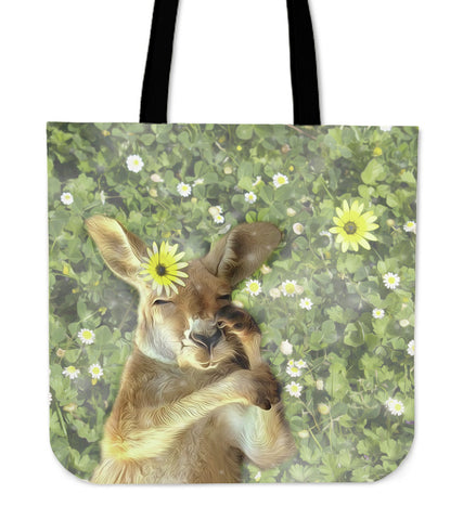 Australia Tote Bags Kagaroo And Flowers