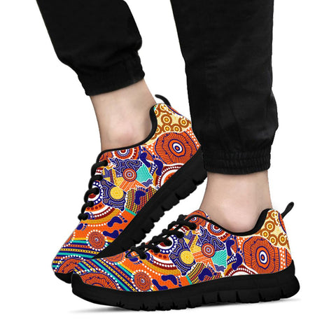 1stAustralia Aboriginal Sneakers - Australian Map Dot Painting