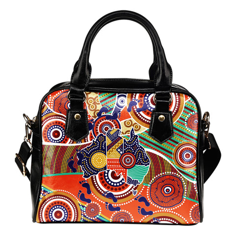 1stAustralia Aboriginal Shoulder Handbag - Australian Map Dot Painting