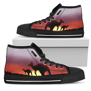 Australia High Top Shoes Kangaroo In The Sunset 02
