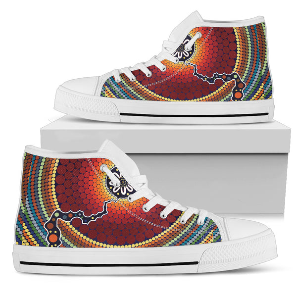1stAustralia Canvas Shoes - Aboriginal Dot Painting Shoes Ver11 - High Top - Th1