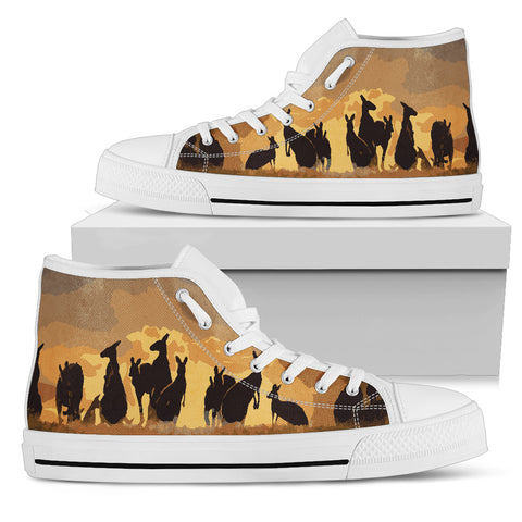 Image of Australia High Top Shoes Kangaroo Family Sunset TH1