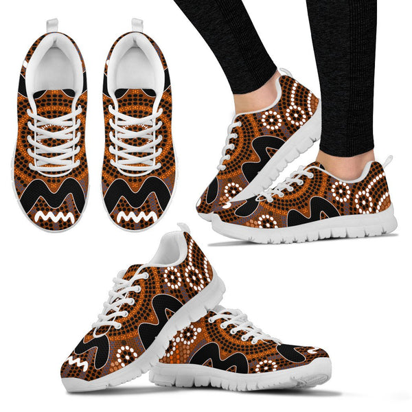 1stAustralia Aboriginal Sneakers, Circle Dot Painting 19 - H4