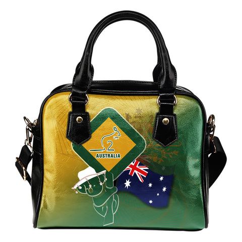 1stAustralia Shoulder Hangbag - Aus Flag and Coat Of Arms Bag Kangaroo and Koala Sign