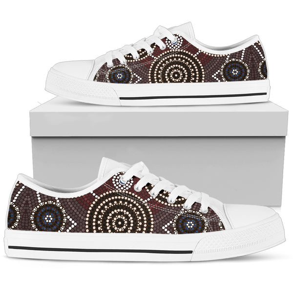 1stAustralia Canvas Shoes - Aboriginal Dot Painting Shoes Ver08 - Low Top - Th1
