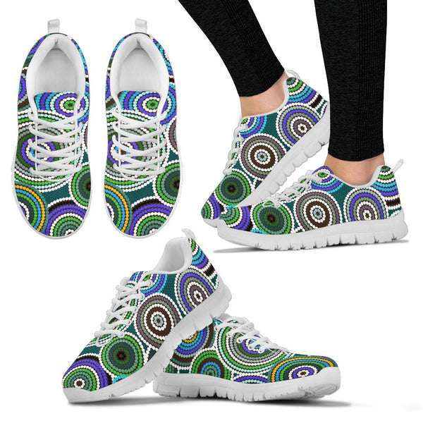 1stAustralia Aboriginal Sneakers, Circle Dot Painting Indigenous Shoes - H4