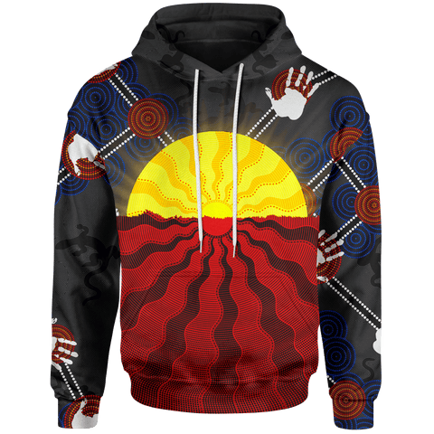 1stAustralia Aboriginal Kid Hoodie, Australia Indigenous Flag Sun Dot Painting(For Kid)
