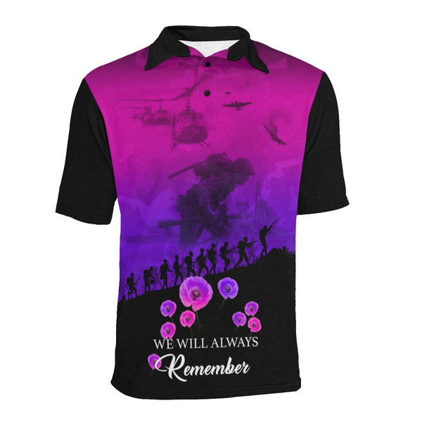 Never Forget Australia Anzac Polo with Purple mix Black color - Front - For Women