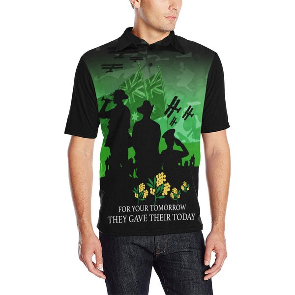 Anzac Australia Remembers Polo Shirt with Green mix Black color - Front - For Men