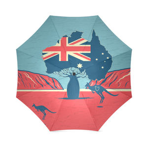 1stAustralia Umbrella - Aus Flag Umbrella Kangaroo Vintage Uluru - Foldable - K5
